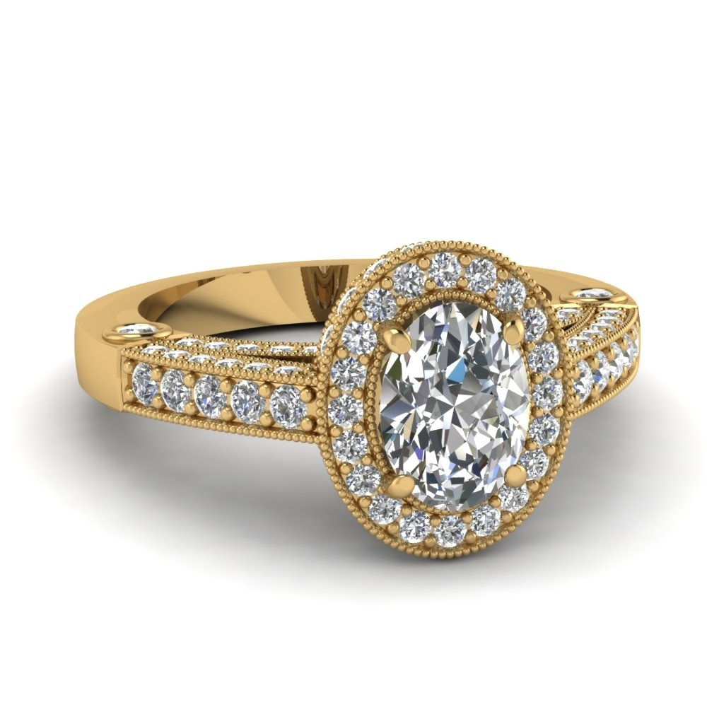 Intricate Oval Halo Antique Vintage Diamond Engagement Ring In 14K Inside Most Recent Vintage Style Yellow Gold Engagement Rings (Gallery 11 of 15)