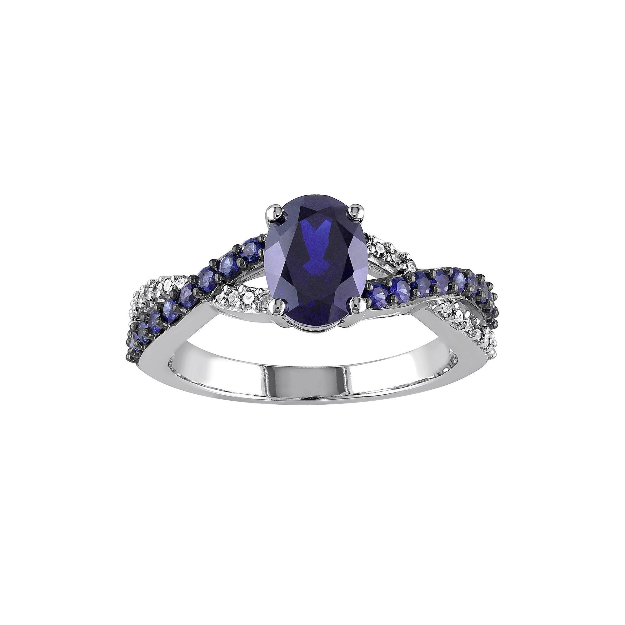 Lab Created Blue Sapphire And 1/10 Carat T.w (View 5 of 15)