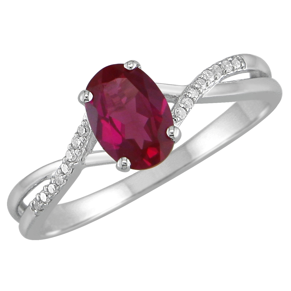 Lab Created Ruby And Diamond Accent Twist Ring In Sterling Silver Inside Most Up To Date Diamond Twist Rings In Sterling Silver (Gallery 13 of 15)