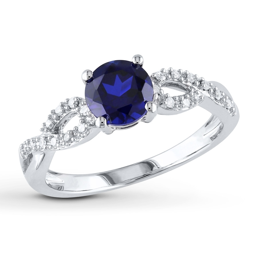 Lab Created Sapphire Ring 1/15 Ct Tw Diamonds 10K White Gold In Most Popular Lab Created Blue Sapphire Five Stone Anniversary Bands In 10K White Gold (View 6 of 15)