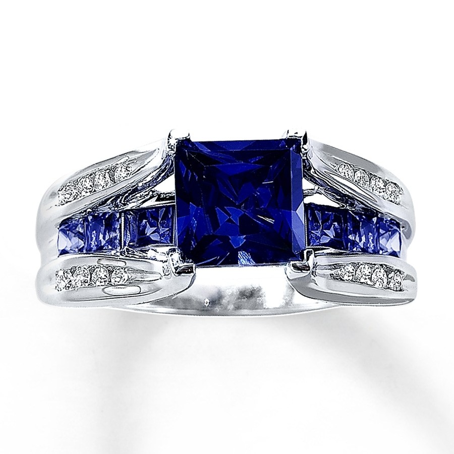Lab Created Sapphire Ring 1/8 Ct Tw Diamonds 10K White Gold Regarding 2017 Lab Created Blue Sapphire Five Stone Anniversary Bands In 10K White Gold (View 7 of 15)