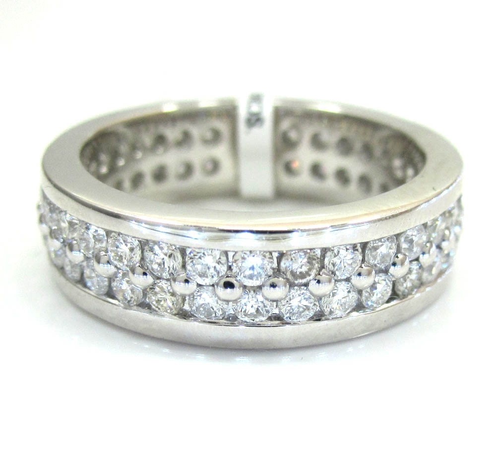Ladies 14k White Gold Two Row Diamond Eternity Wedding Band Ring (View 14 of 15)