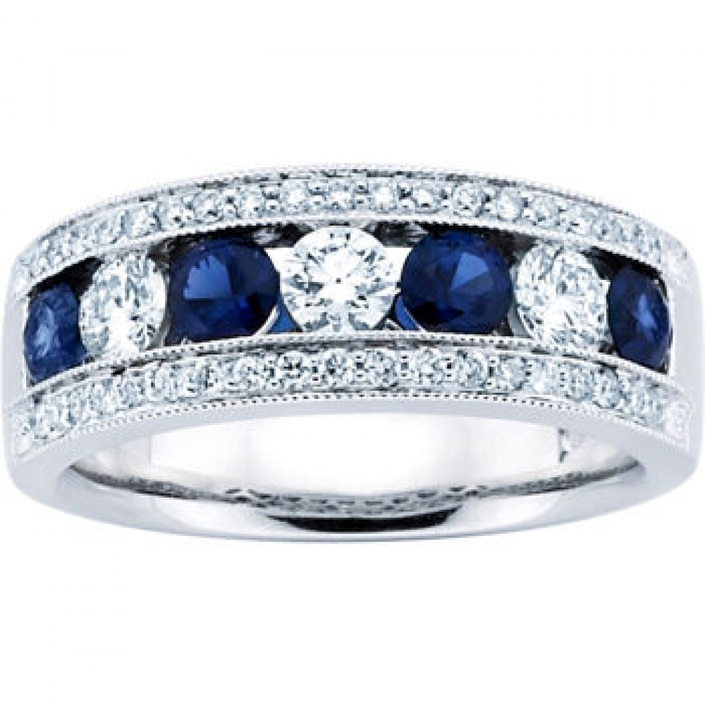 Ladies Sapphire And Diamond Rings | Wedding, Promise, Diamond Within Latest Blue Sapphire And Diamond Seven Stone Wedding Bands In 14K Gold (Gallery 12 of 15)