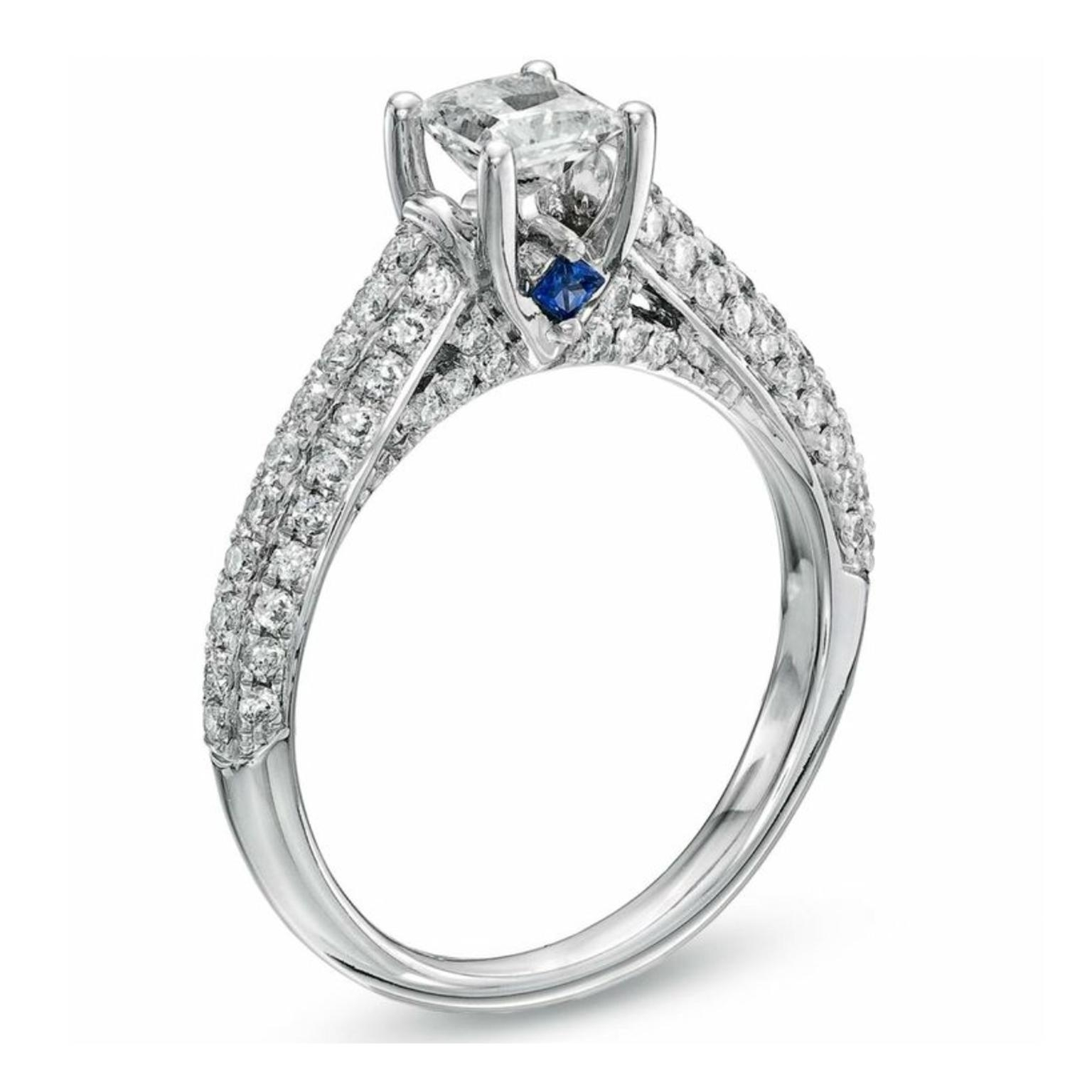 Love Princess Cut Diamond Engagement Ring | Vera Wang | The Regarding 2017 Vintage Style Diamond And Sapphire Engagement Rings (View 9 of 15)
