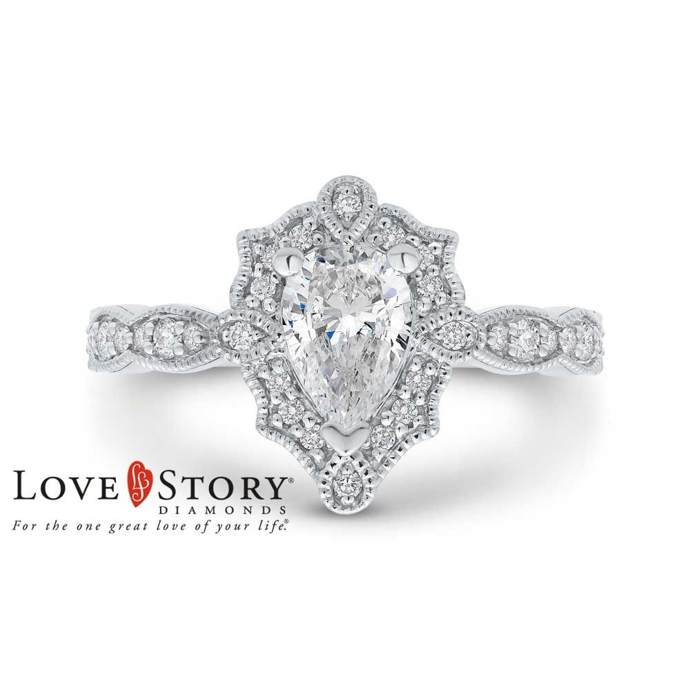 Love Story® Vintage Style Pear Shaped Diamond Engagement Ring In 14K Throughout 2018 Diamond Frame Vintage Style Engagement Rings (Gallery 3 of 15)