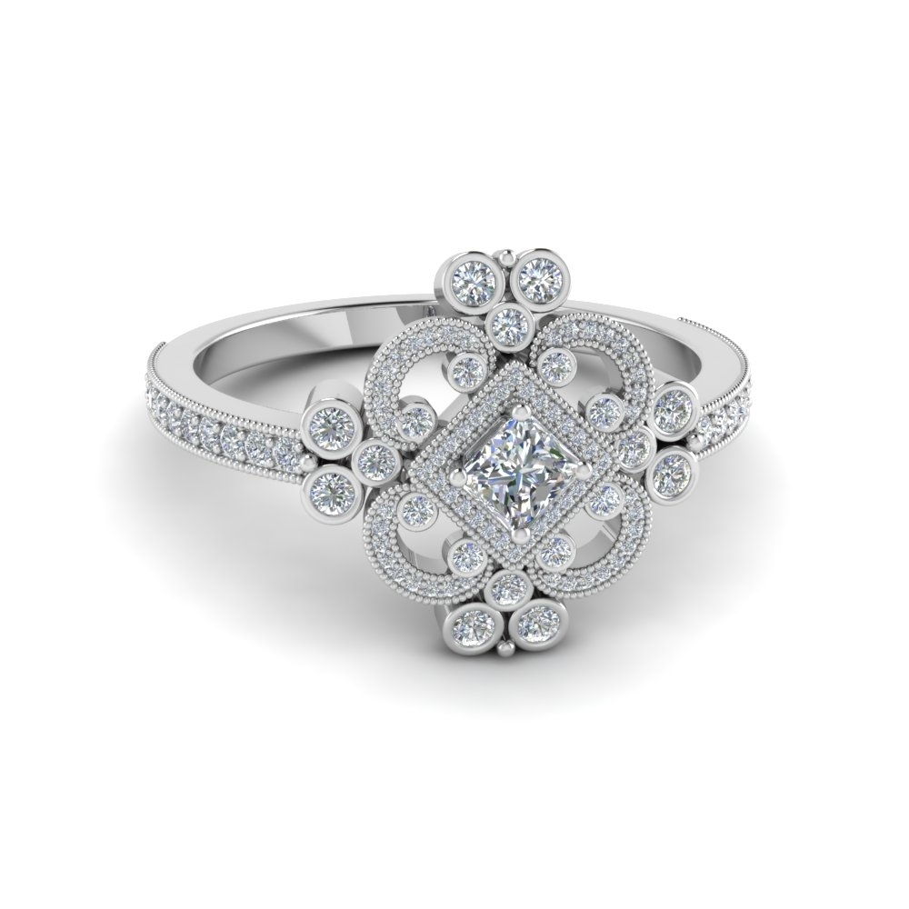 Lovely Vintage Style Princess Cut Diamond Engagement Rings | Vintage Intended For Newest Vintage Style Princess Cut Diamond Engagement Rings (View 6 of 15)