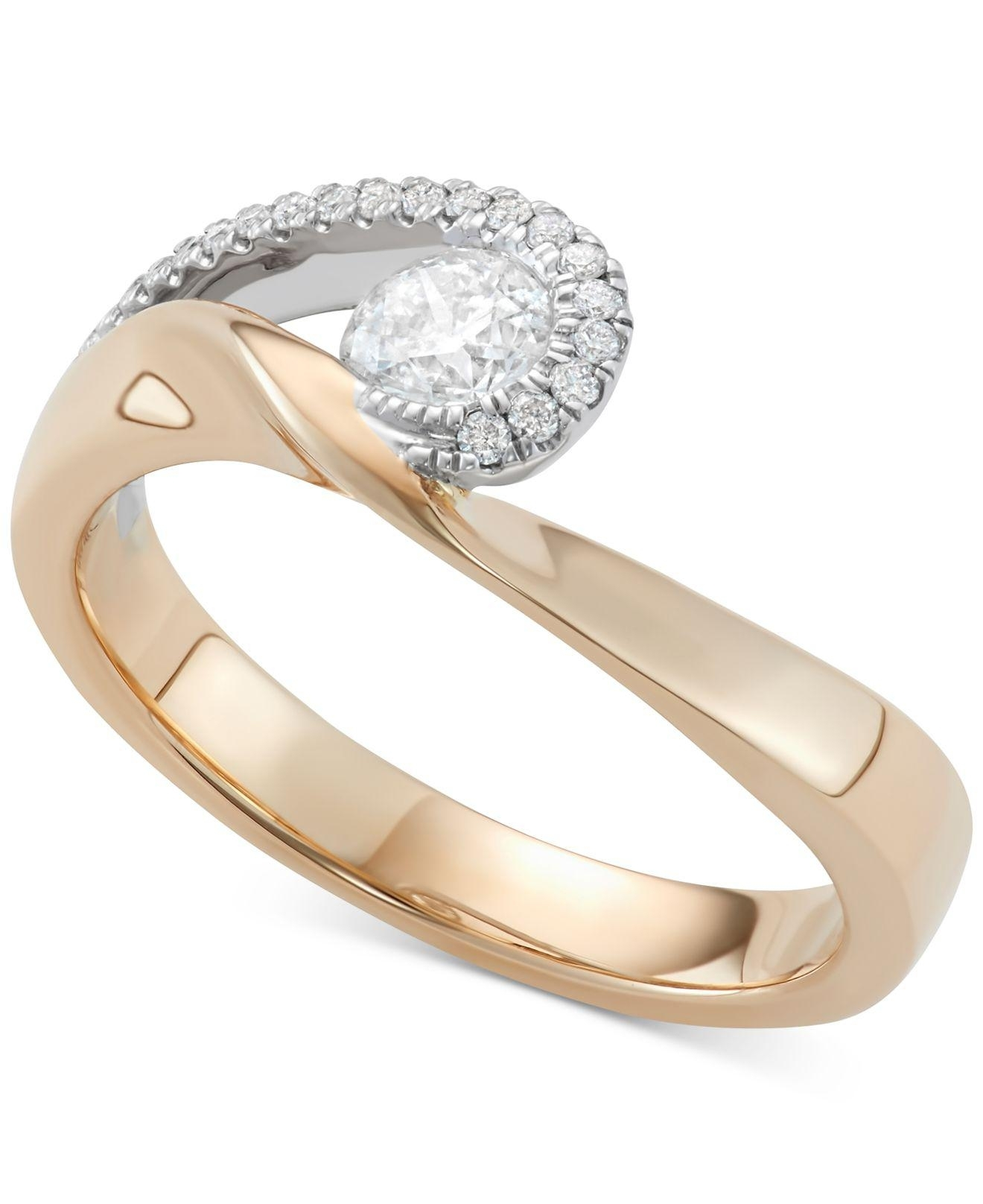Lyst – Macy's Diamond Two Tone Swirl Ring (1/2 Ct. T.w.) In 14K Gold Throughout Most Popular Two Stone Diamond Swirl Bands In 14K Two Tone Gold (Gallery 13 of 15)