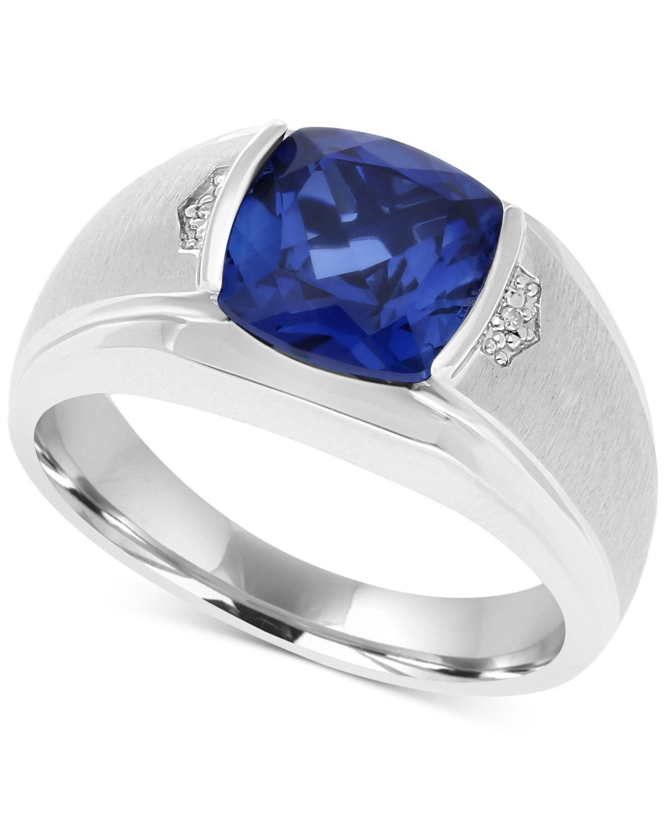 Lyst – Macy's Men's Lab Created Blue Sapphire (5 Ct. T.w.) & Diamond With Most Current Lab Created Blue Sapphire Five Stone Anniversary Bands In 10K White Gold (Gallery 7 of 15)