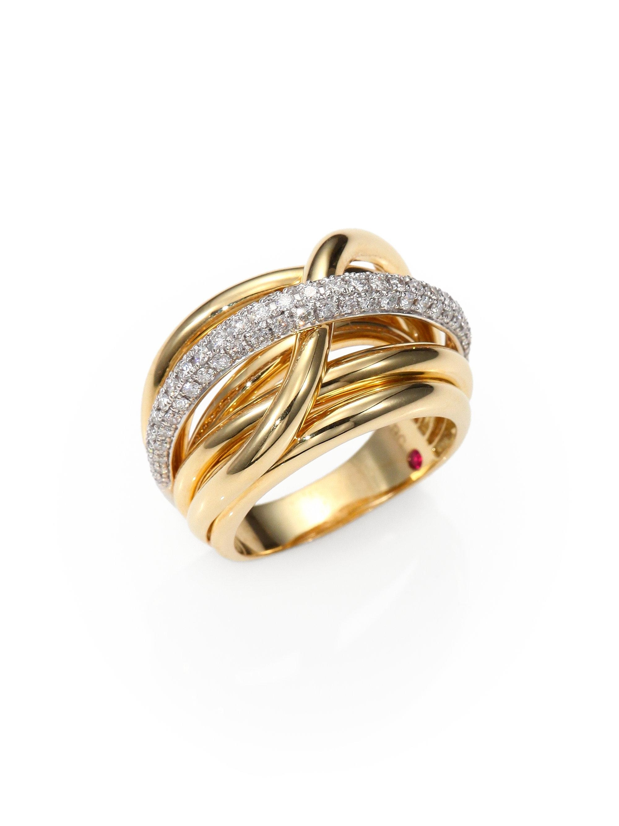 Lyst – Roberto Coin Classica Diamond & 18K Yellow Gold Crossover Throughout Latest Diamond Layered Crossover Bands In 18K White Gold (View 13 of 15)