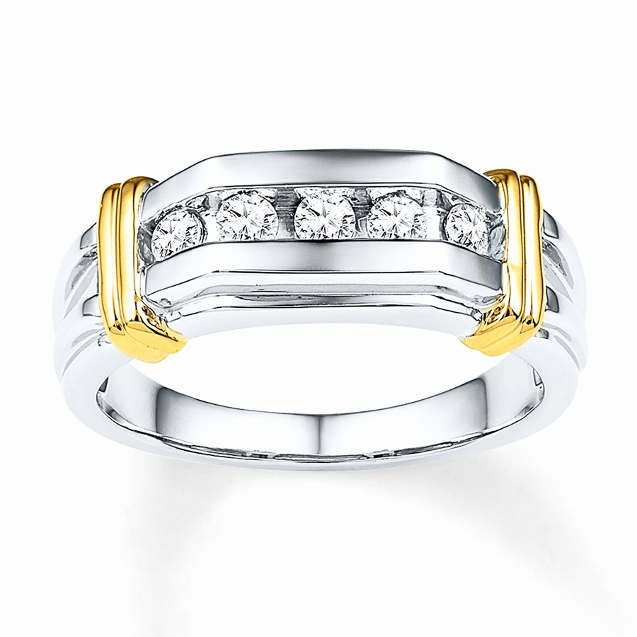 Male Wedding Rings With 3 Diamonds Awesome Men S 1 3 Ct T W Diamond Pertaining To Recent Diamond Three Stone Slant Wedding Bands In 10K White Gold (View 6 of 15)
