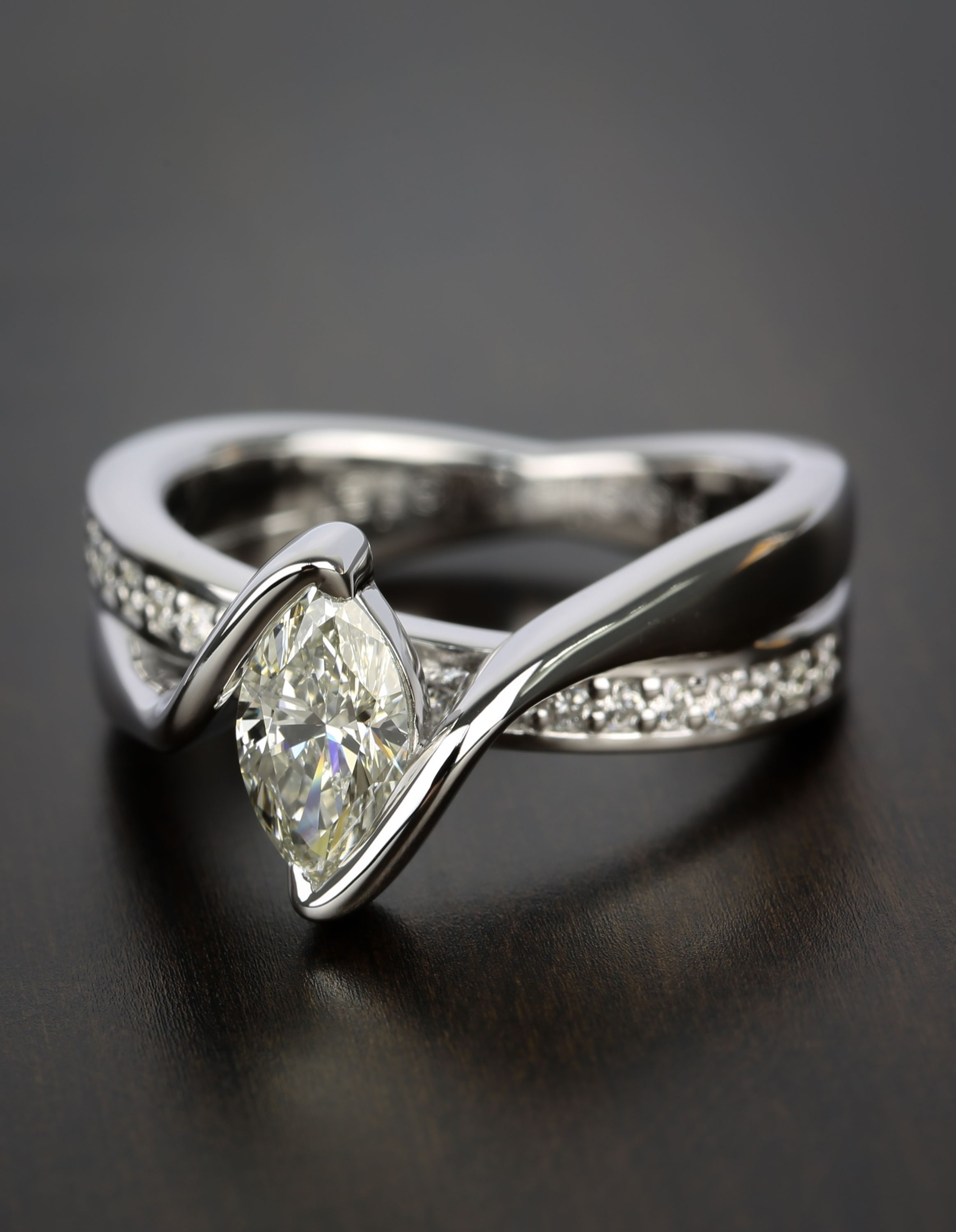Marquise Bezel Diamond Bridge Engagement Ring ( (View 3 of 15)