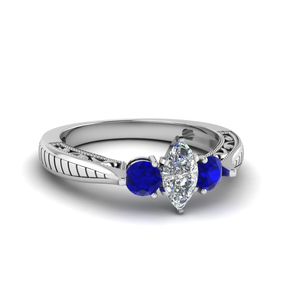 Marquise Cut Vintage Style Three Stone Engagement Ring With Blue For 2018 Vintage Style Sapphire Engagement Rings (View 4 of 15)
