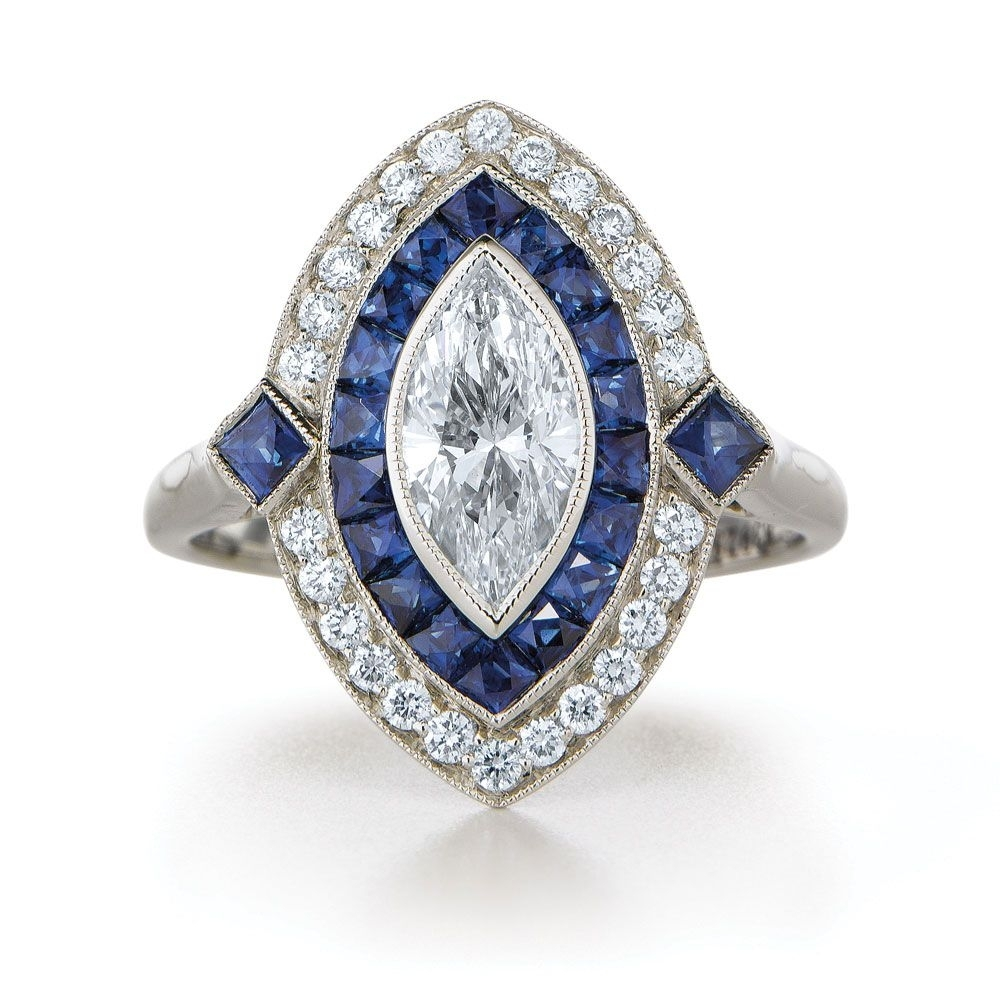Marquise Diamond Ring In Platinum In A Vintage Style With A Sapphire In Most Recently Released Diamond Double Frame Vintage Style Rings (View 12 of 15)