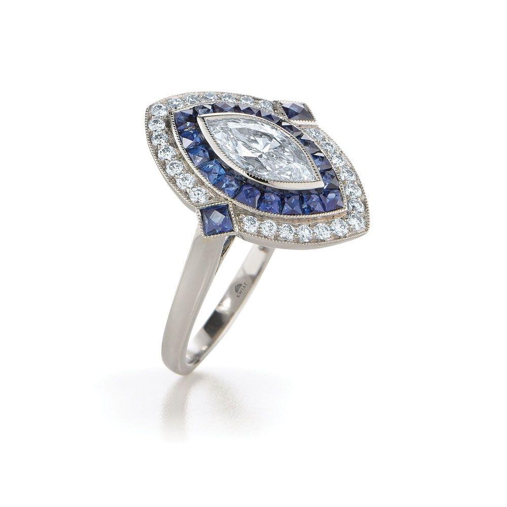 Marquise Diamond Ring In Platinum In A Vintage Style With A Sapphire Throughout Recent Diamond Frame Vintage Style Engagement Rings (Gallery 10 of 15)