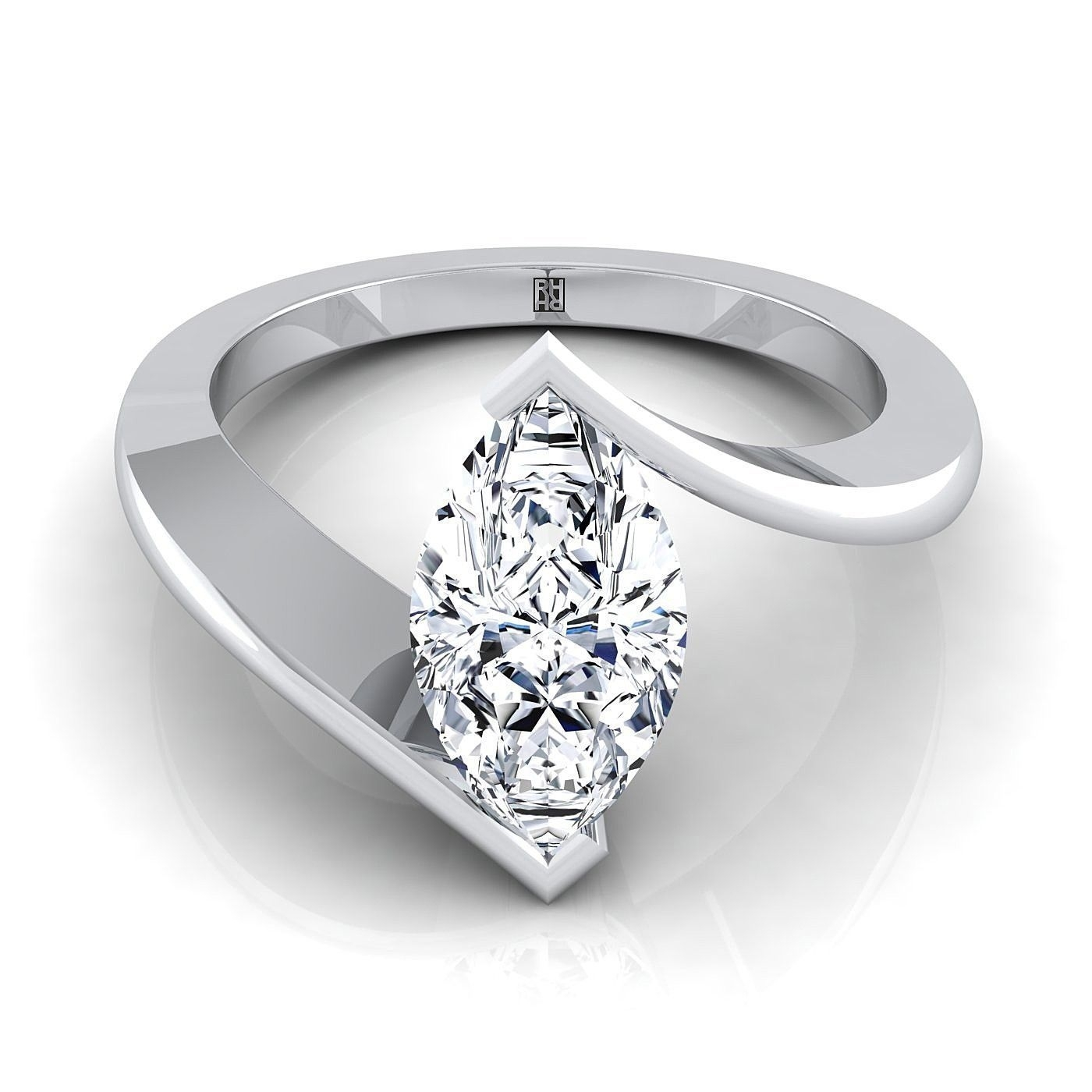 Marquise Diamond Solitaire Engagement Ring In 14K White Gold Throughout 2017 Marquise And Princess Cut Composite Diamond Six Stone Anniversary Bands (View 9 of 15)