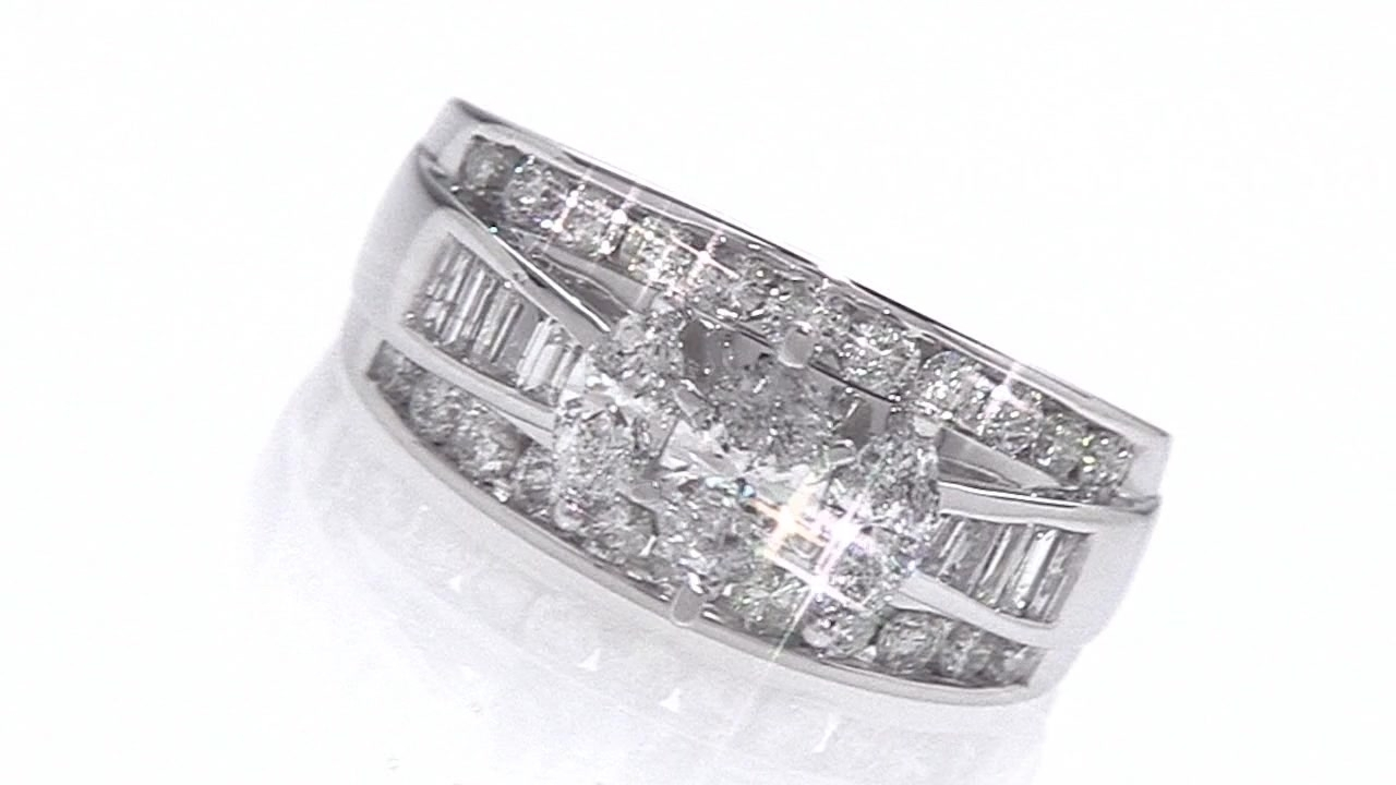 Marquise Diamond Three Stone Ring In 14K White Gold 2 Ct. T.w. Pertaining To Most Current Marquise And Princess Cut Composite Diamond Six Stone Anniversary Bands (Gallery 15 of 15)