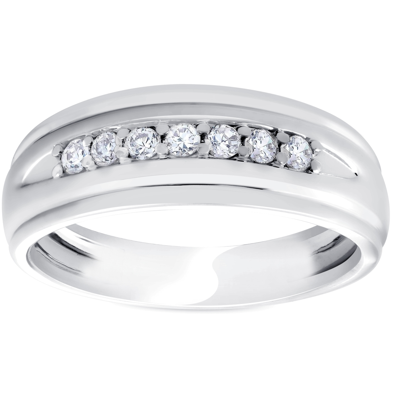 Mens 1/4Ct White Gold 7 Stone Diamond Ring 10K Polished Wedding Regarding Most Recently Released Diamond Seven Stone Wedding Bands In 10K Two Tone Gold (Gallery 3 of 15)