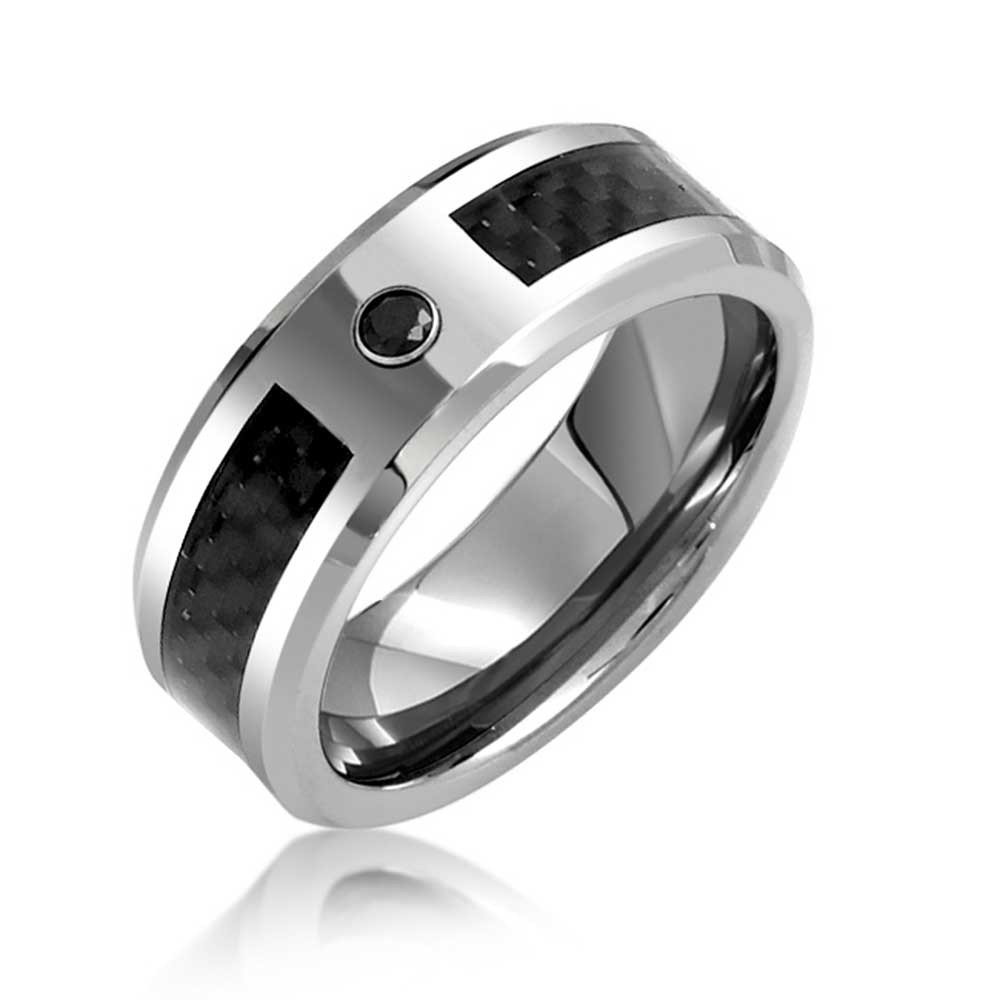 Mens Black Cz Tungsten Wedding Band Ring Carbon Fiber Inlay 8mm Throughout Best And Newest Tungsten Wedding Bands (View 6 of 15)