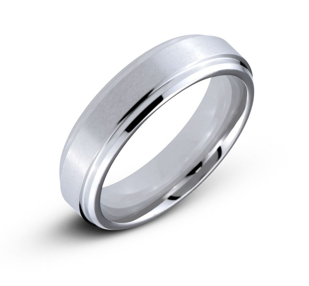 Men's Cobalt 6Mm Comfort Fit Wedding Band With Satin Center Throughout Most Recently Released Satin Center Bevel Edged Wedding Band In Cobalt (View 6 of 15)