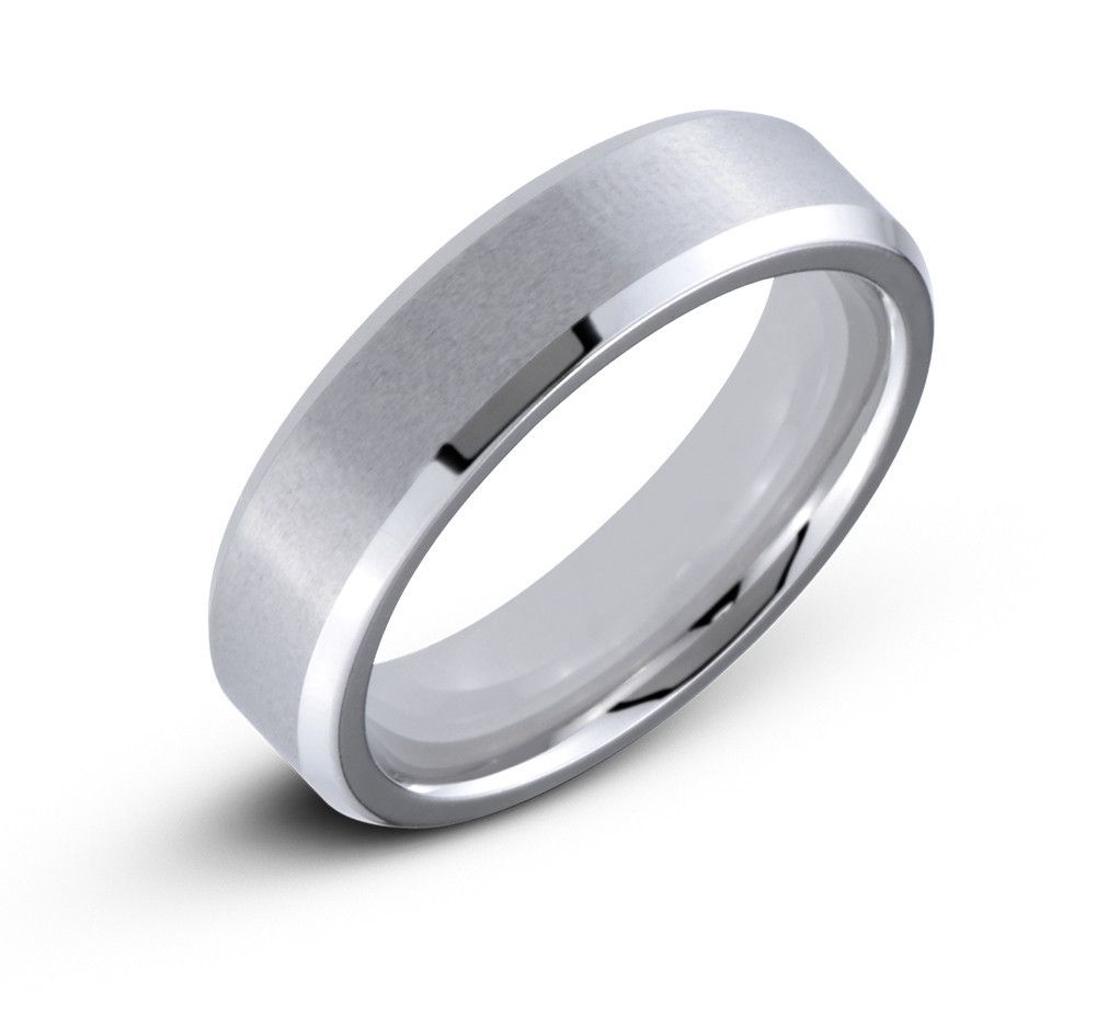 Men's Cobalt 6mm Raised Brushed Center Wedding Band Ring With Hight With Best And Newest Satin Center Grooved Edge Wedding Band In Cobalt (View 13 of 15)