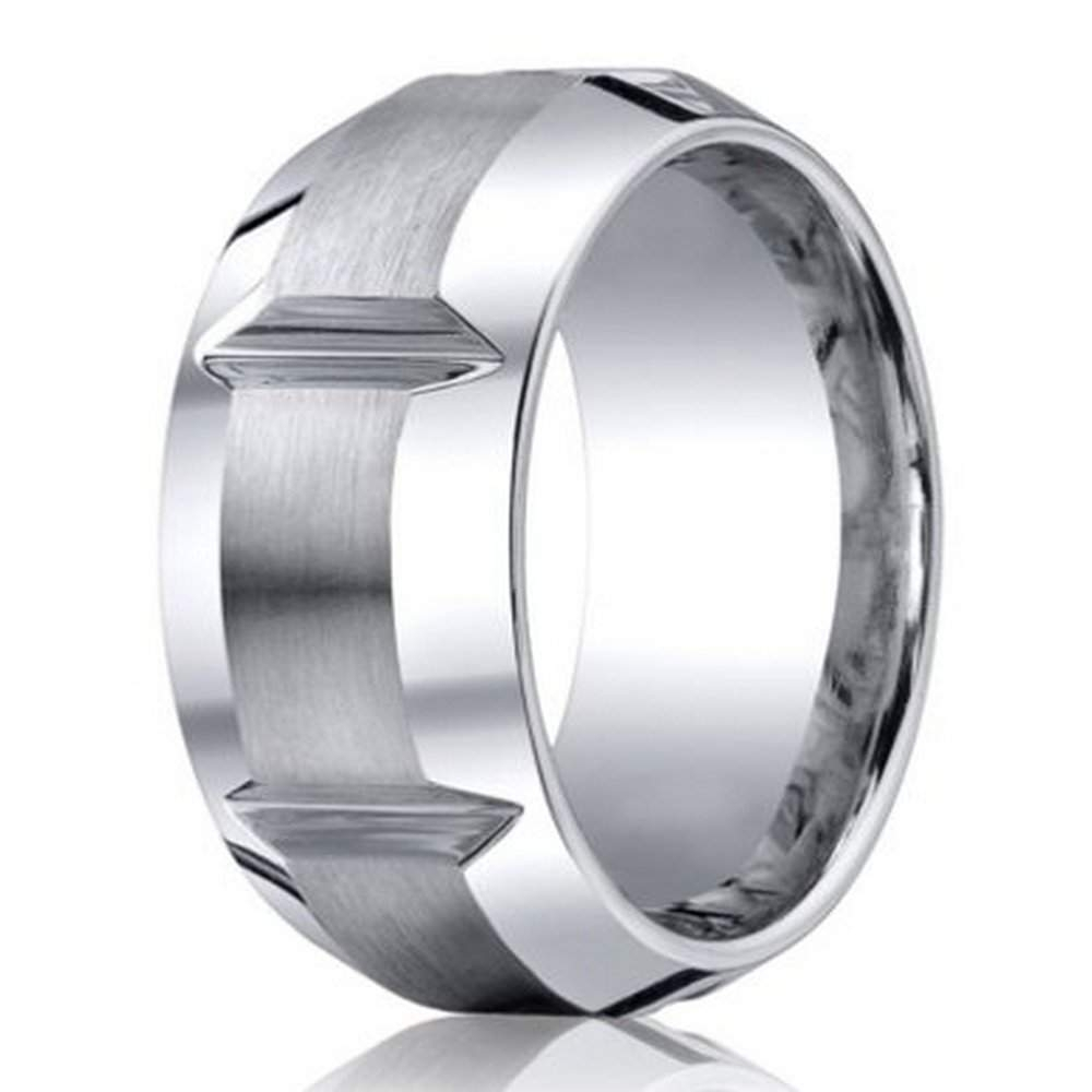 Men's Cobalt Chrome Wedding Ring From Benchmark | 10Mm Within Most Up To Date Polished Comfort Fit Cobalt Chrome Wedding Bands (Gallery 9 of 15)