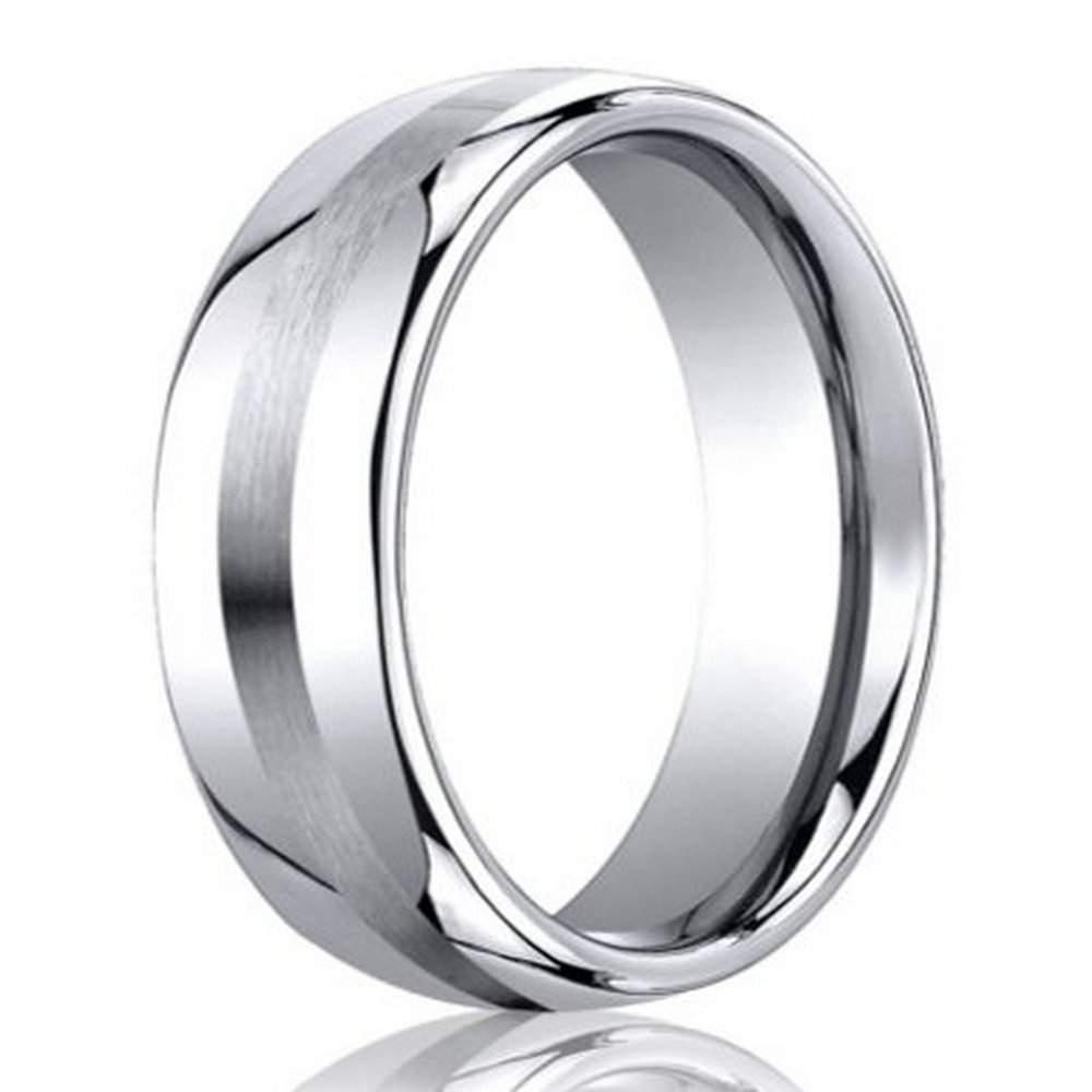 Men's Designer Cobalt Chrome Wedding Band | 7.5Mm: Just Men's Rings Intended For Most Recent Satin Center Grooved Edge Wedding Band In Cobalt (Gallery 12 of 15)