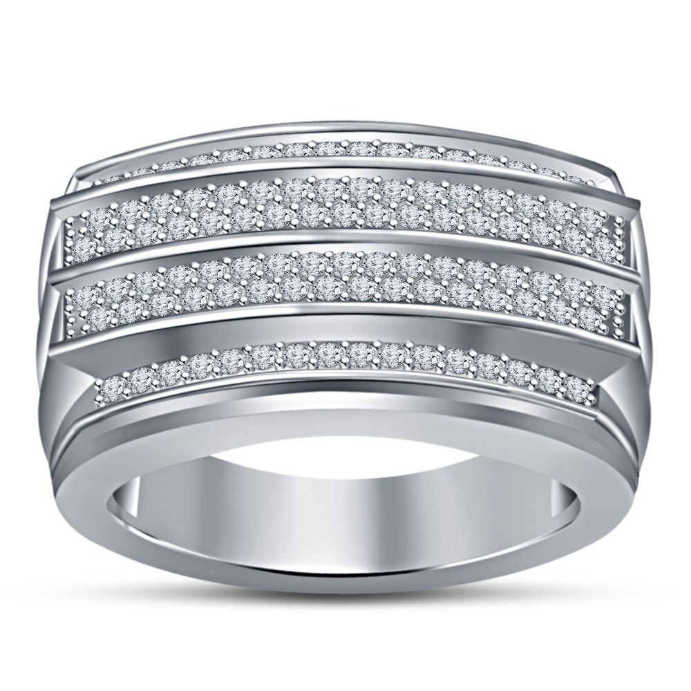Men's Fashion .925 Sterling Silver White Simulated Diamond Four Row Within Recent Diamond Four Row Anniversary Bands In Sterling Silver (Gallery 8 of 15)