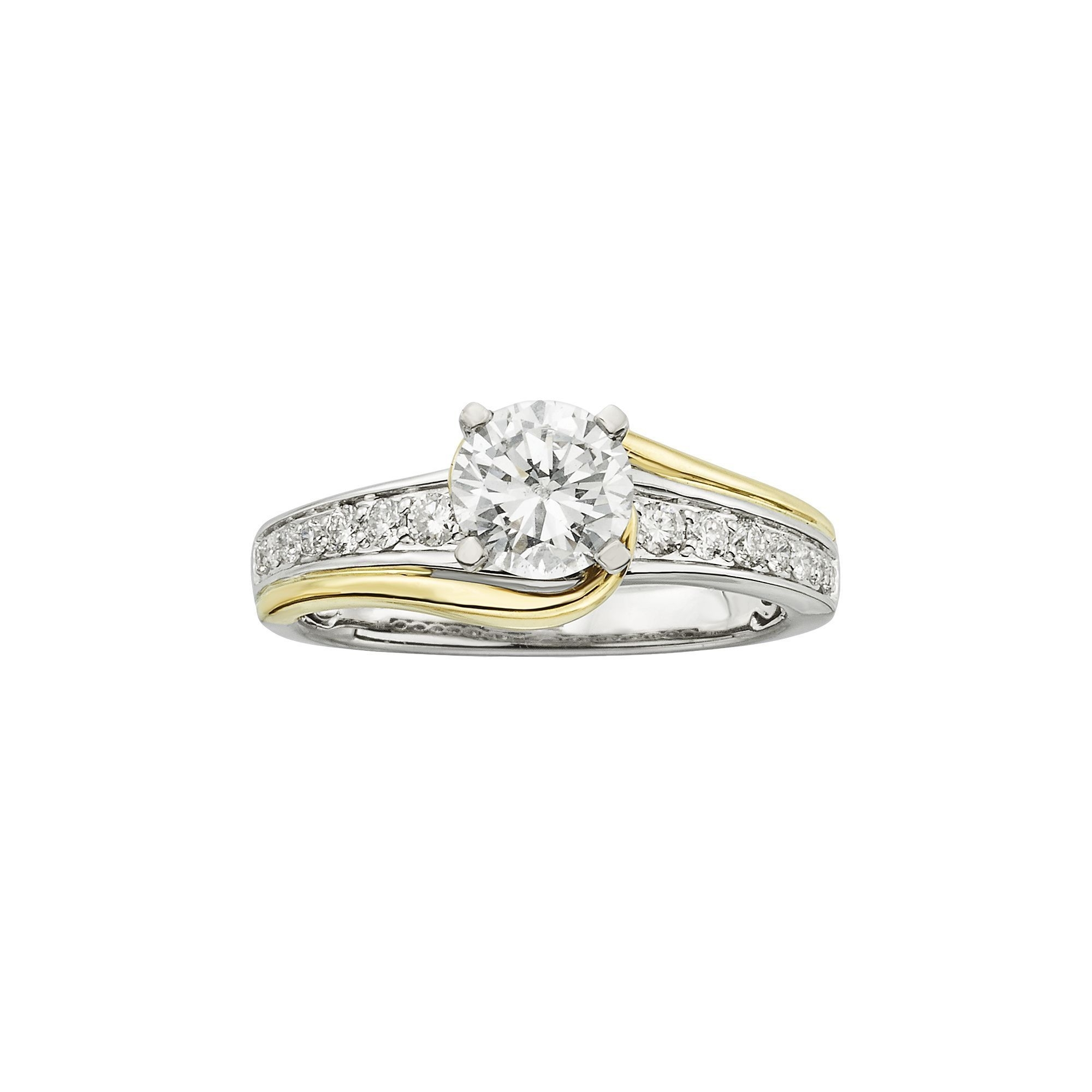 Mesmerizing Engagement Ring Swirl Band With Kohl S 14K Gold Two Tone Regarding Most Recent Two Stone Diamond Swirl Bands In 14K Two Tone Gold (View 12 of 15)