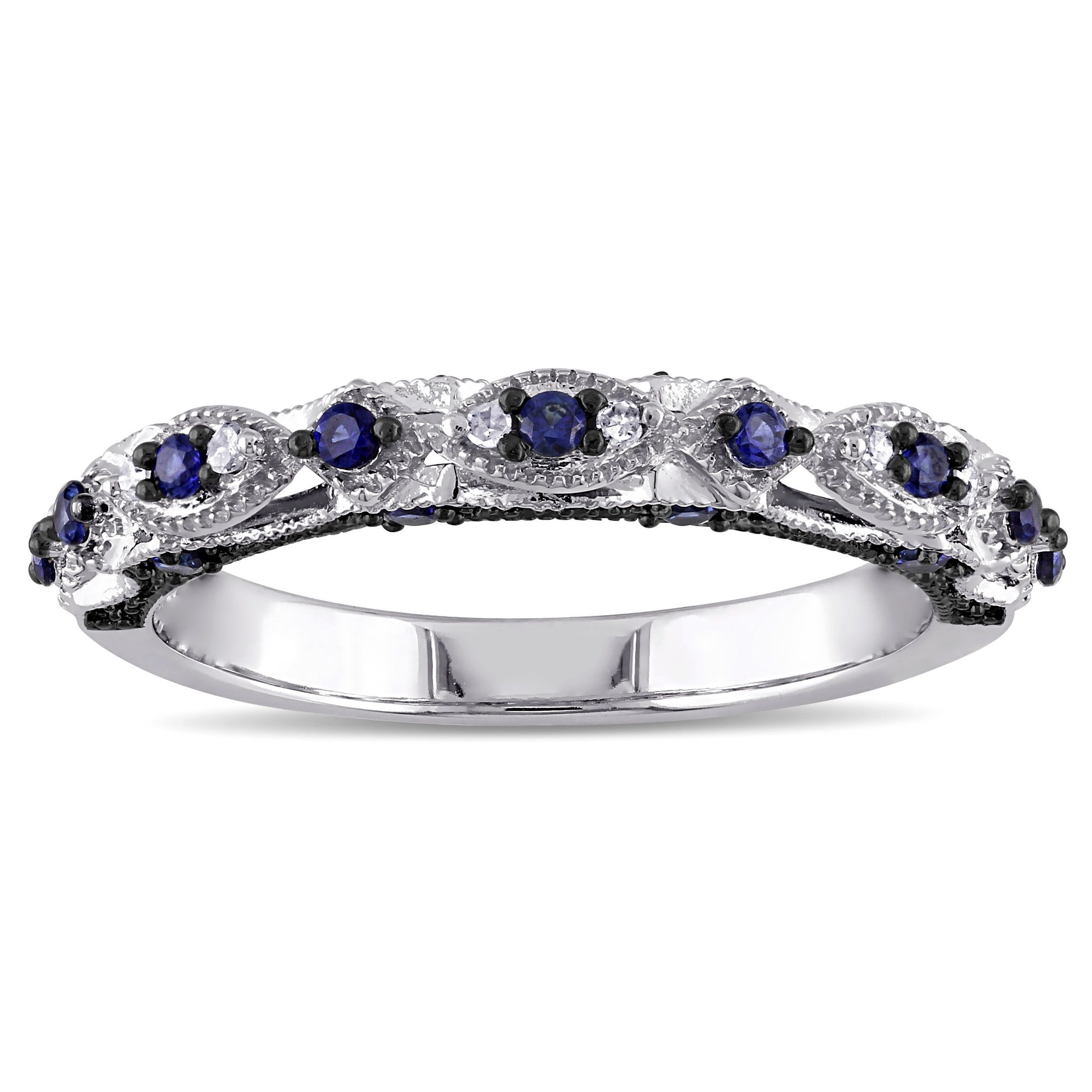 Miadora 10K White Gold Created Blue Sapphire And Diamond Accent Throughout Most Popular Lab Created Blue Sapphire Five Stone Anniversary Bands In 10K White Gold (View 11 of 15)