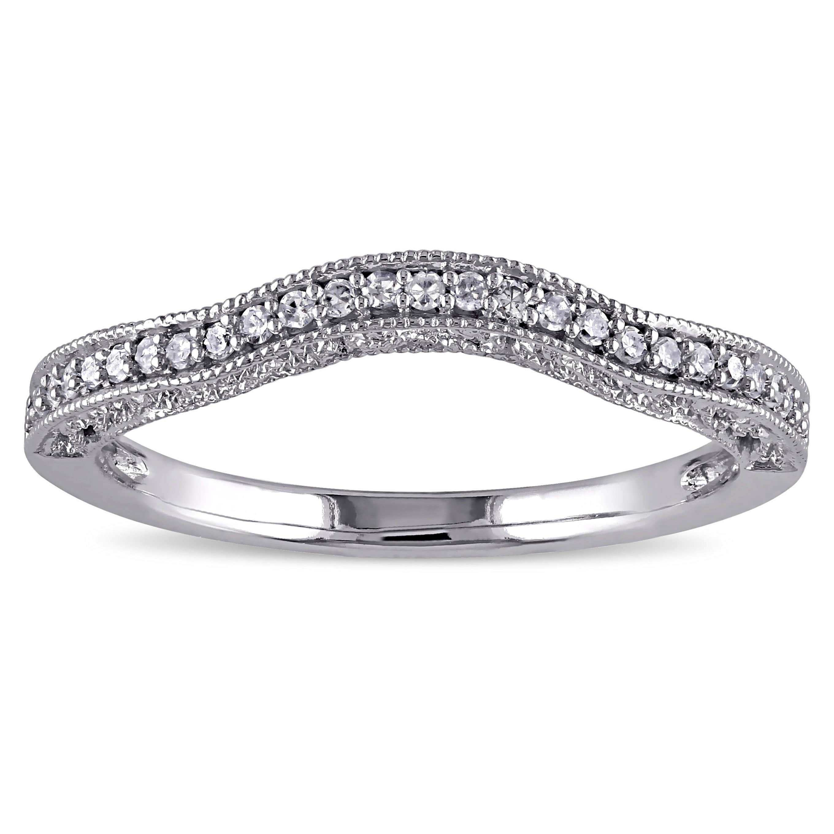 Miadora 14K White Gold 1/8Ct Tdw Diamond Contour Anniversary Style With Regard To 2017 Diamond Vintage Style Contour Wedding Bands In 14K White Gold (Gallery 6 of 15)
