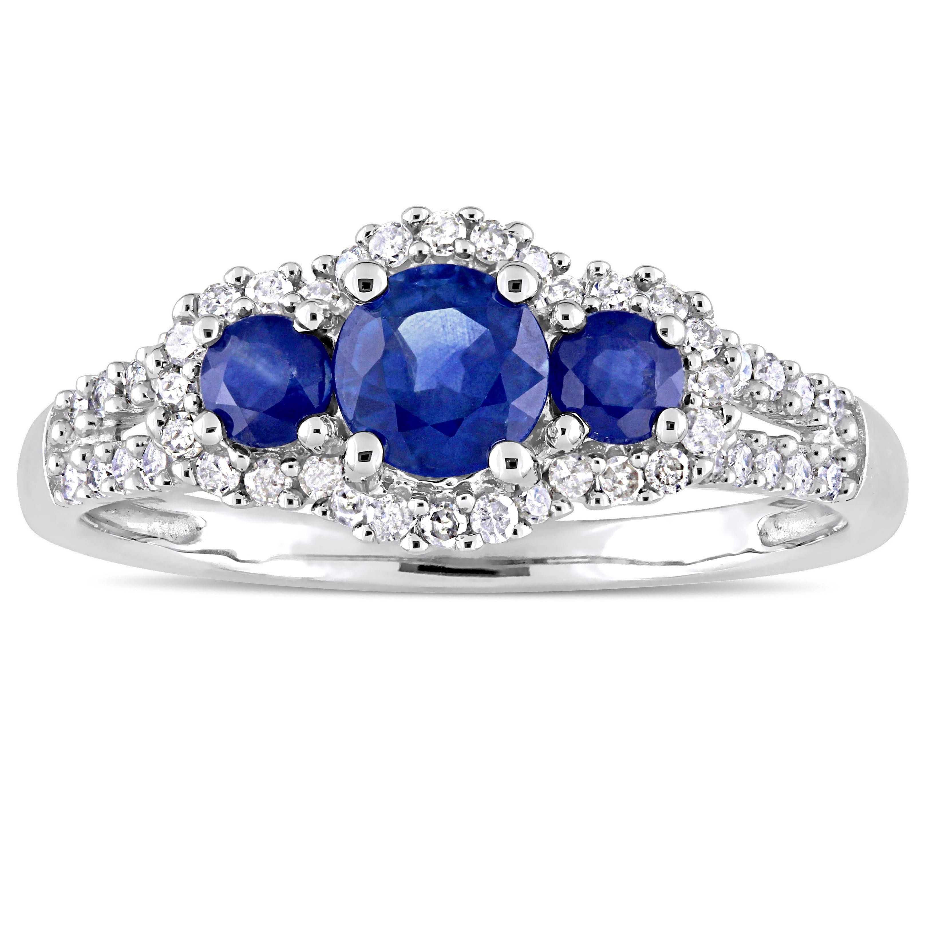 Miadora Signature Collection 10K White Gold Sapphire And 1/4Ct Tdw With Most Up To Date Lab Created Blue Sapphire Five Stone Anniversary Bands In 10K White Gold (View 12 of 15)