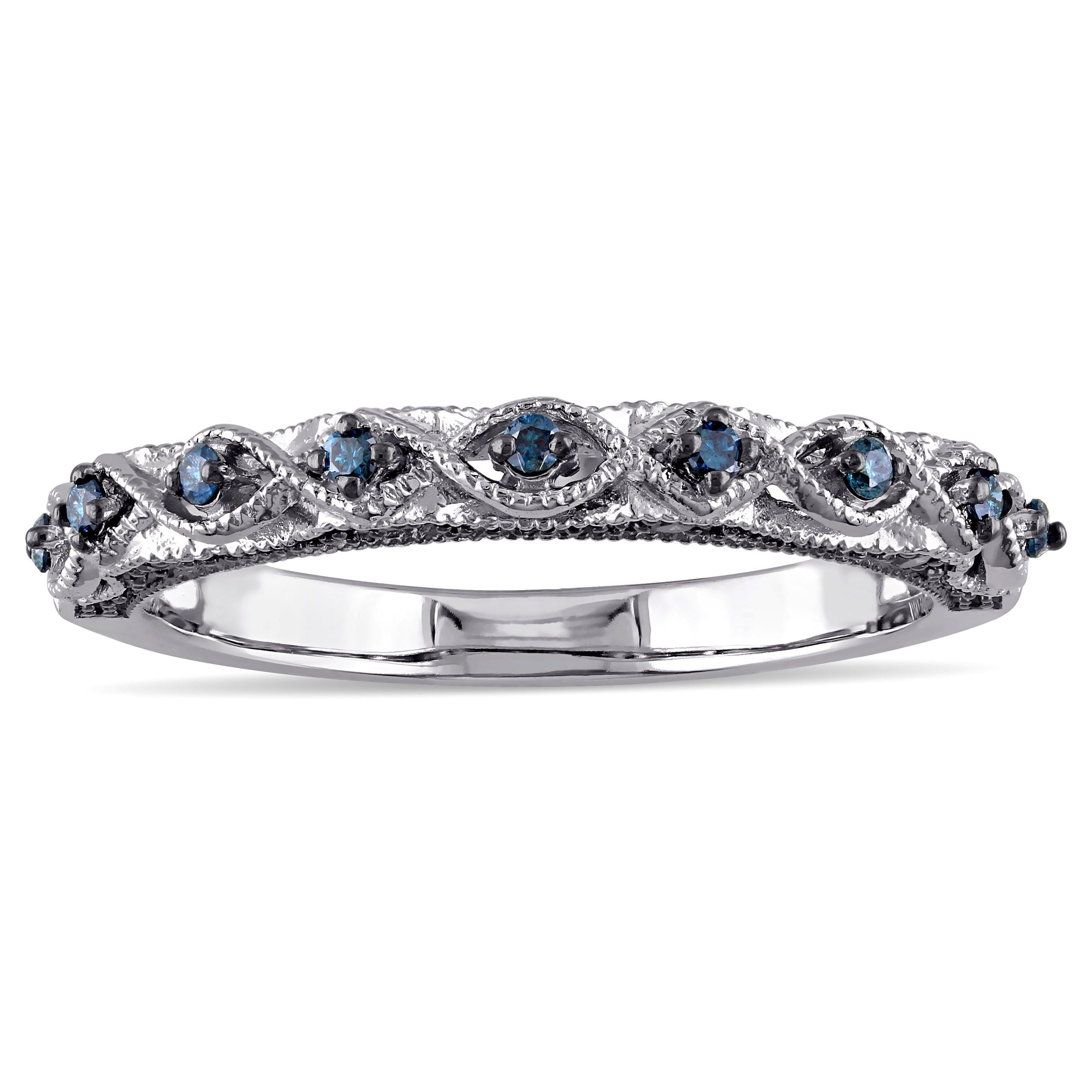 Miadora Size: 10K White Gold Size: 1/6Ct Tdw Blue Diamond Vintage Inside Most Up To Date Diamond Wave Vintage Style Anniversary Bands In 10K White Gold (View 11 of 15)