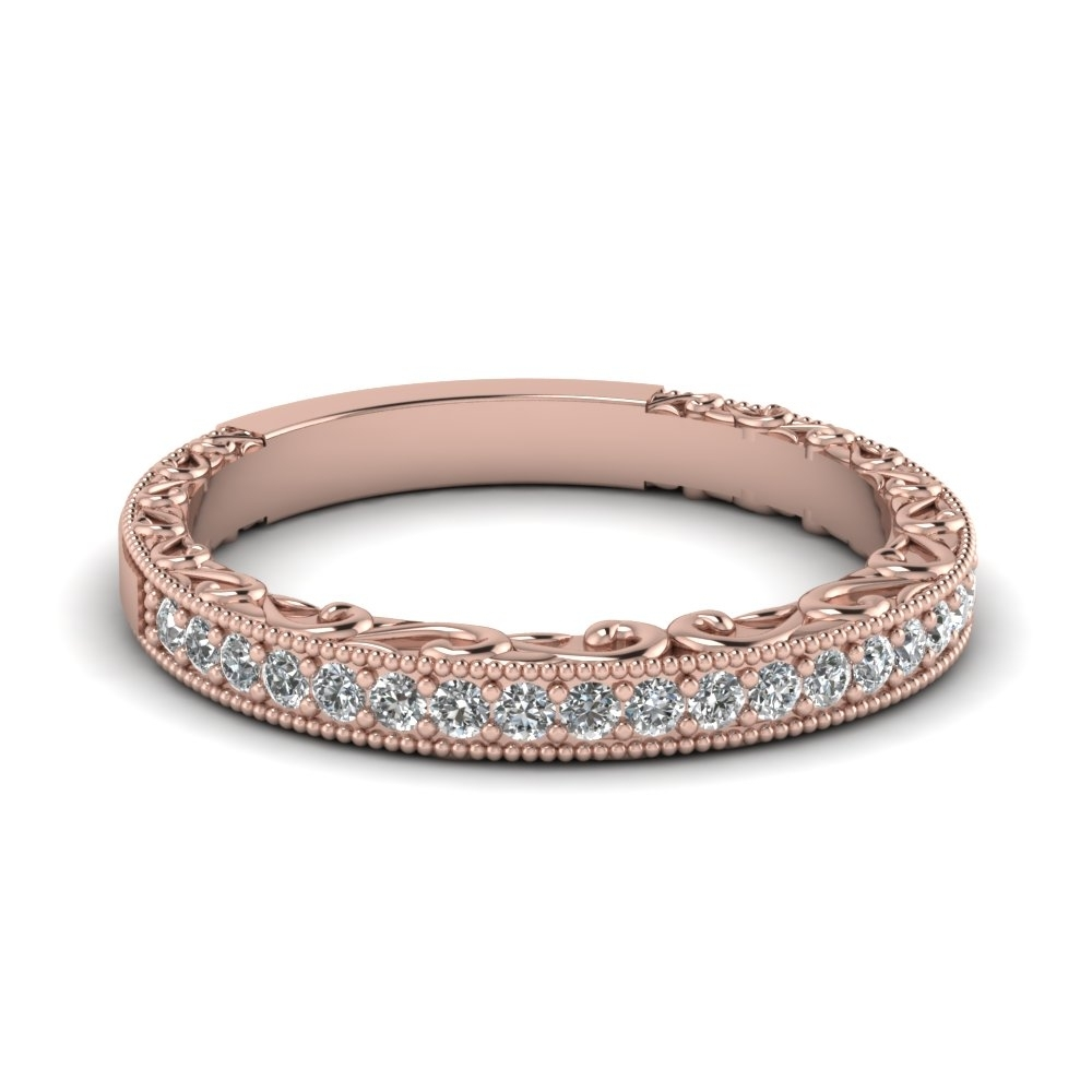 Milgrain Hand Engraved Diamond Wedding Band In 14K Rose Gold For Newest Diamond Accent Milgrain Anniversary Bands In 10K Rose Gold (View 4 of 15)
