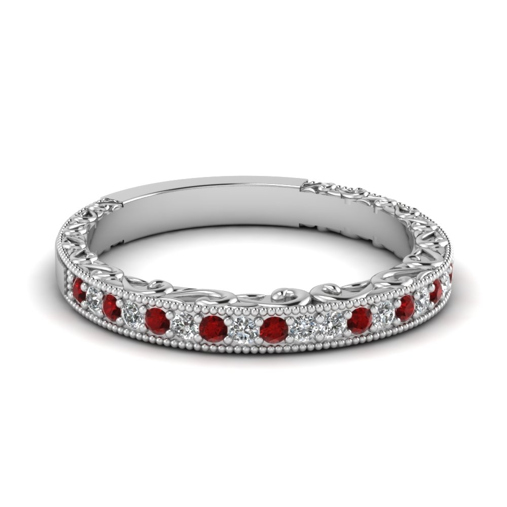 Milgrain Hand Engraved Diamond Wedding Band With Ruby In 18K White Inside Recent Ruby And Diamond Eternity Bands In Platinum (Gallery 14 of 15)