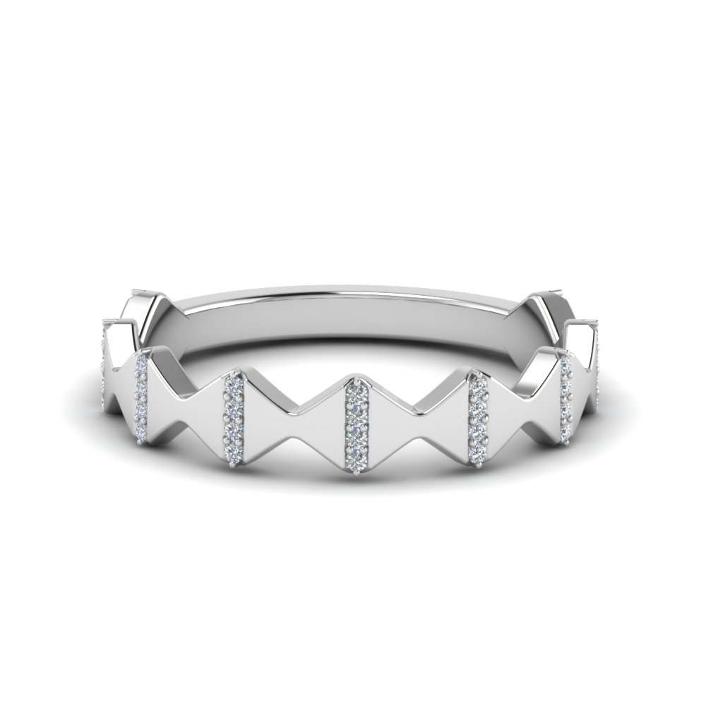 Modern Zigzag Band With Diamonds In 18K White Gold | Fascinating Intended For Most Current Diamond Zig Zag Anniversary Rings In 18K White Gold (Gallery 3 of 15)