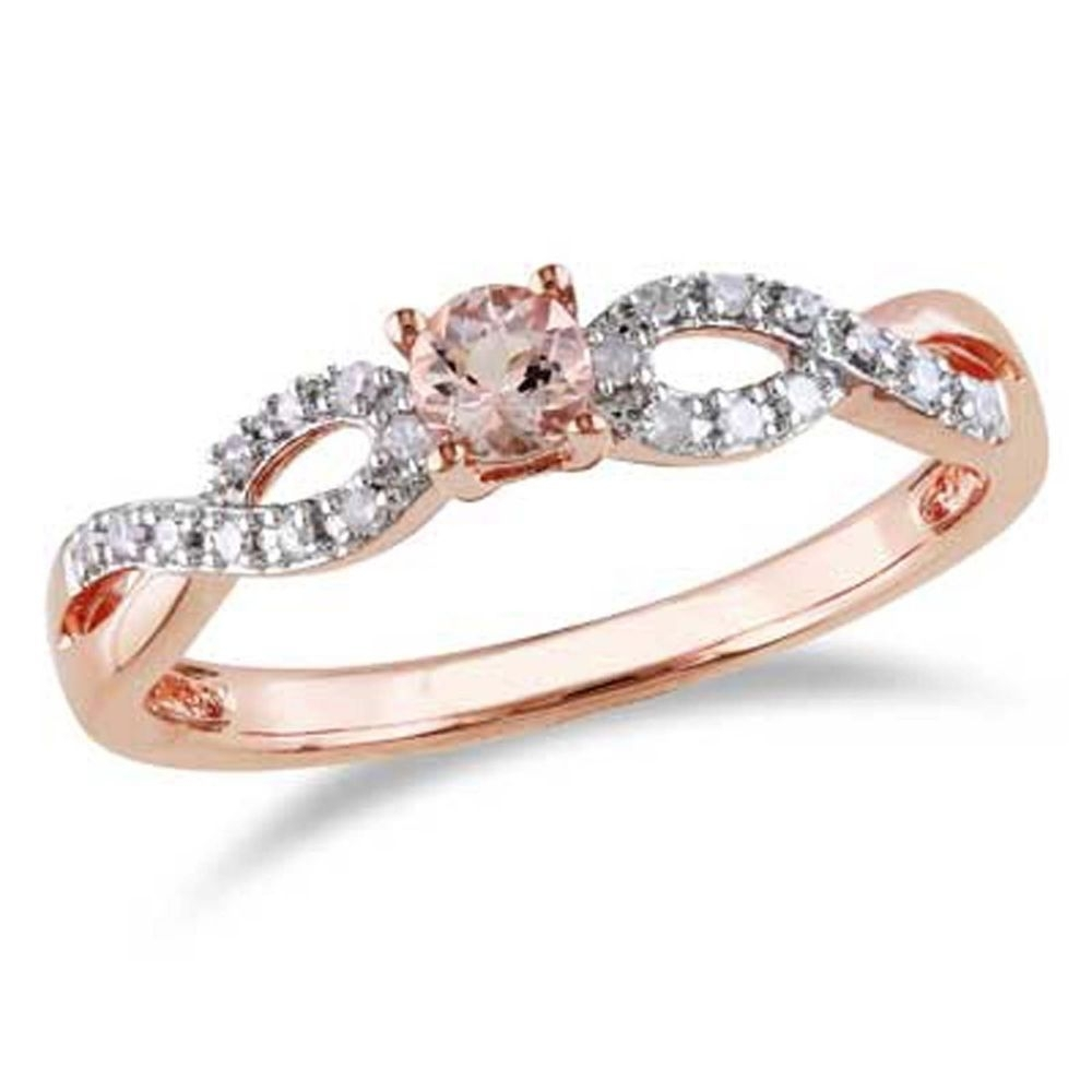 Morganite & Diamond Accent Twine Promise Ring In Rose Rhodium Intended For Most Popular Diamond Wedding Bands In Sterling Silver With Rose Rhodium (Gallery 7 of 15)