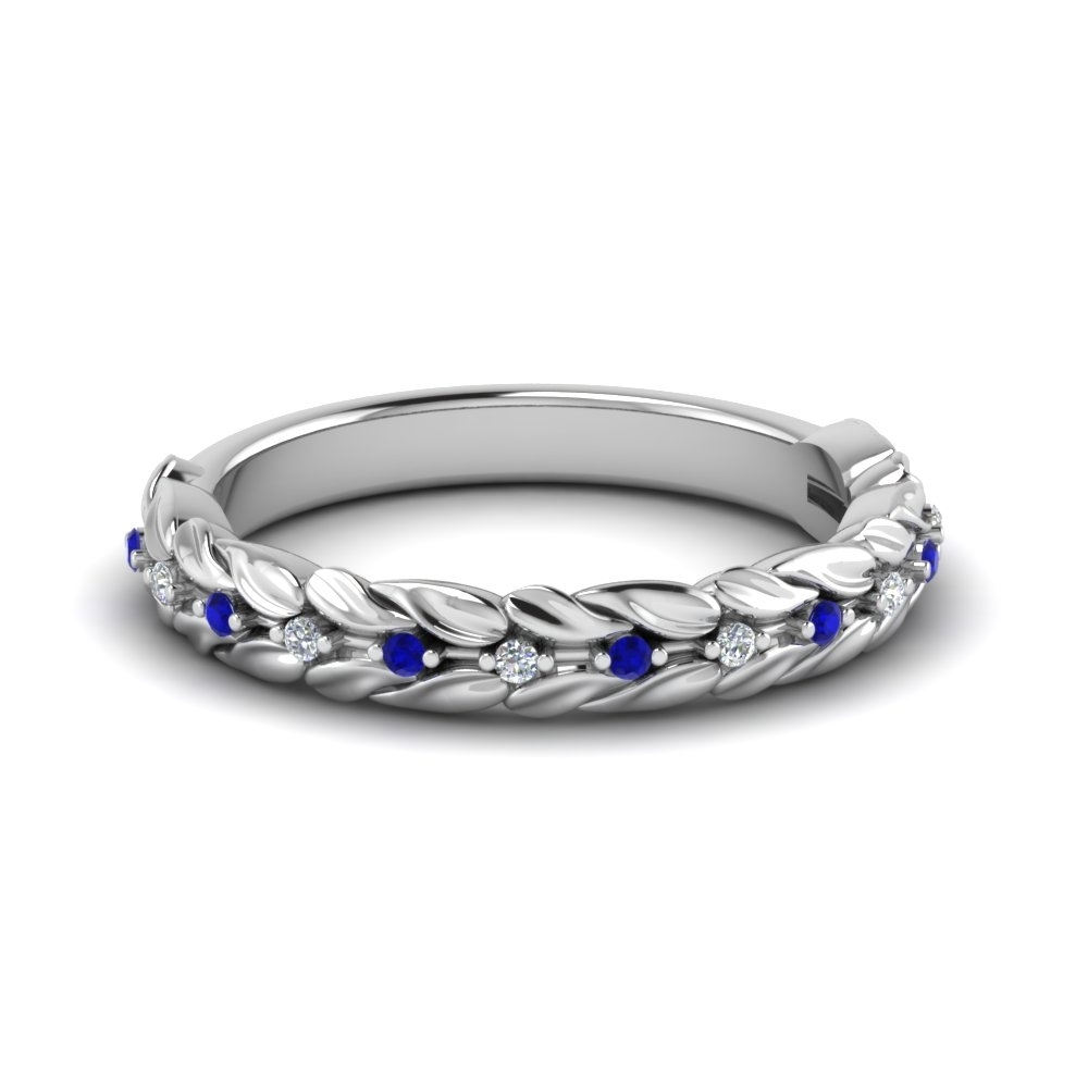 Nature Inspired Diamond Wedding Band With Sapphire In 18K White Gold Pertaining To Newest Vintage Style Diamond And Sapphire Engagement Rings (View 10 of 15)