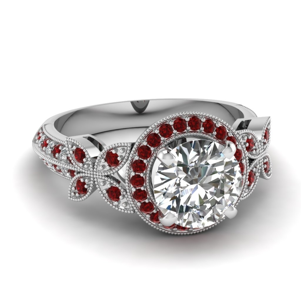 Nature Inspired Round Halo Vintage Diamond Engagement Ring With Ruby For Recent Vintage Style Ruby And Diamond Rings (View 6 of 15)