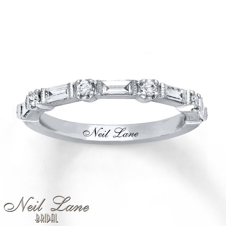 Neil Lane Anniversary 1/3 Ct Tw Diamonds 14K White Gold Band | Here With 2017 Round And Baguette Diamond Anniversary Bands In 14K White Gold (View 12 of 15)