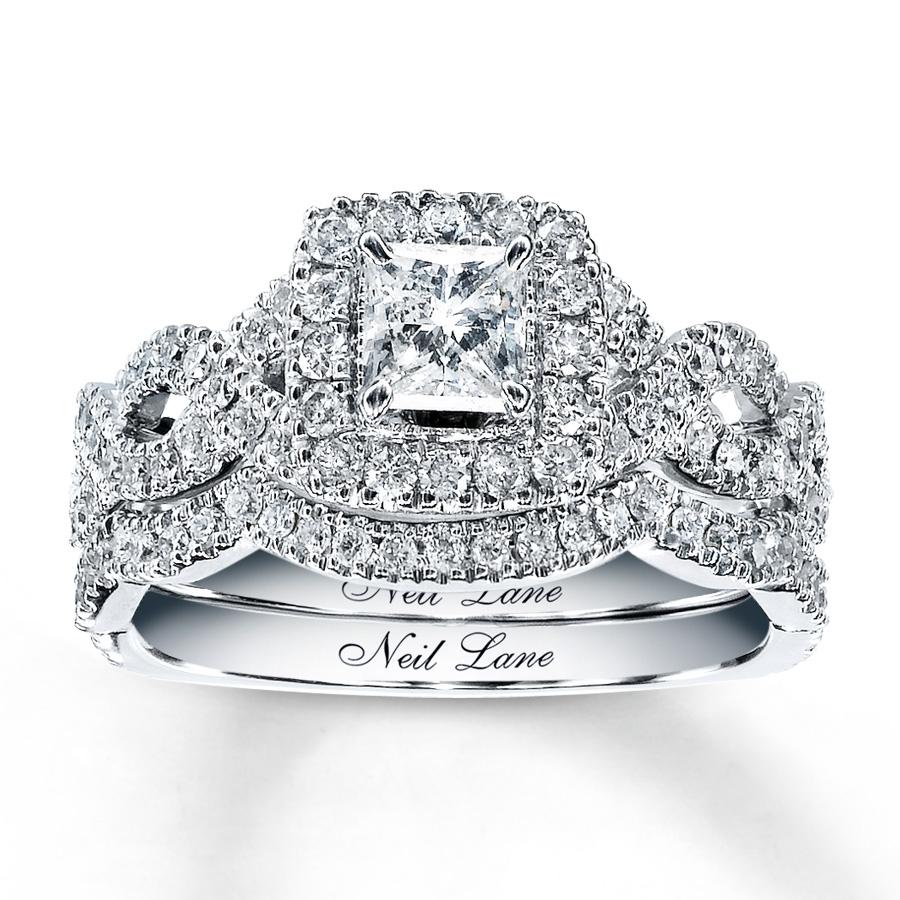 Neil Lane Bridal Set 1 1/6 Ct Tw Diamonds 14K White Gold – 940225700 Regarding 2017 Princess Cut Diamond Frame Vintage Style Twist Bridal Rings In 14K White Gold (Gallery 2 of 15)