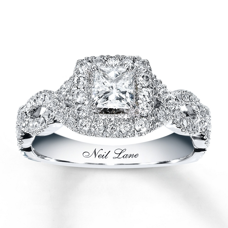 Neil Lane Engagement Ring 1 Ct Tw Diamonds 14K White Gold Throughout Current Princess Cut Diamond Frame Vintage Style Twist Bridal Rings In 14K White Gold (View 10 of 15)