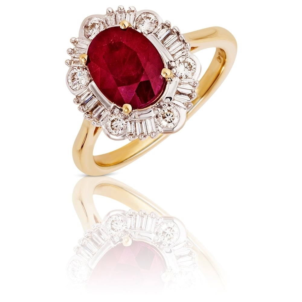 New 9Ct Gold Ruby & Diamond Vintage Style Oval Cluster Ring With Latest Vintage Style Ruby And Diamond Rings (Gallery 14 of 15)