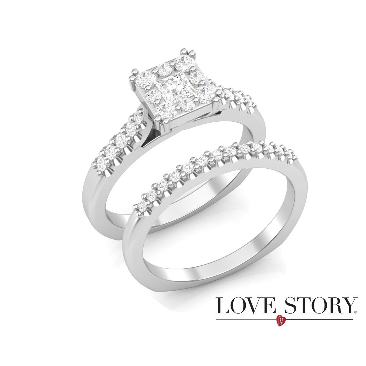 Only You® Square Frame Diamond Bridal Set In White Gold, 5/8Ctw Throughout Current Diamond Hexagonal Frame Vintage Style Wedding Bands (View 14 of 15)