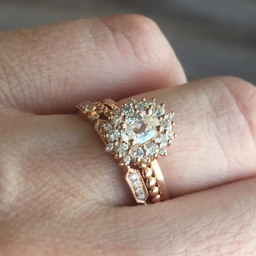 Our New Sunburst Halo Engagement Rings Stack Perfectly With A Mix Of Intended For Most Current Diamond Hexagonal Frame Vintage Style Wedding Bands (Gallery 6 of 15)