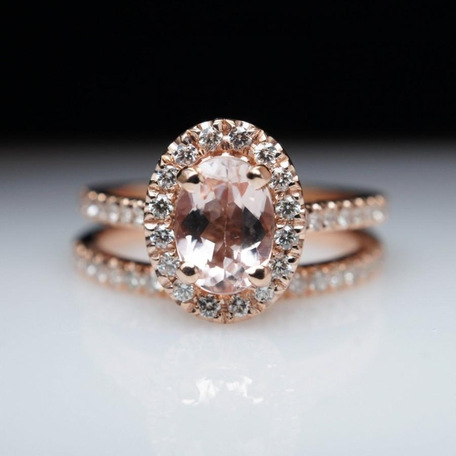 Oval Morganite Engagement Ring Rose Gold Engagement Ring Bridal Set With Most Popular Vintage Style Rose Gold Engagement Rings (View 9 of 15)