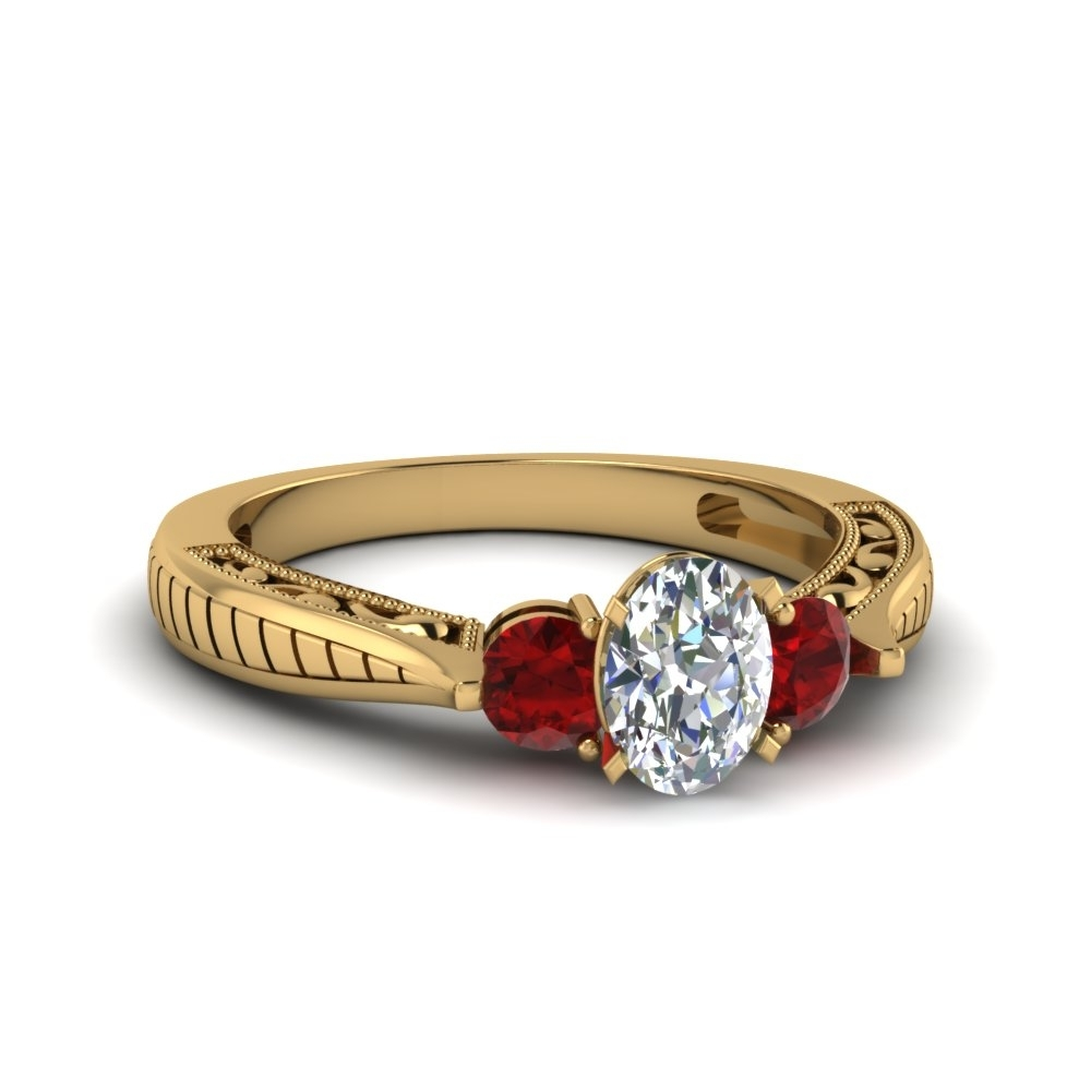 Oval Shaped Vintage Style Three Stone Engagement Ring With Ruby In Inside Recent Vintage Style Ruby And Diamond Rings (View 8 of 15)