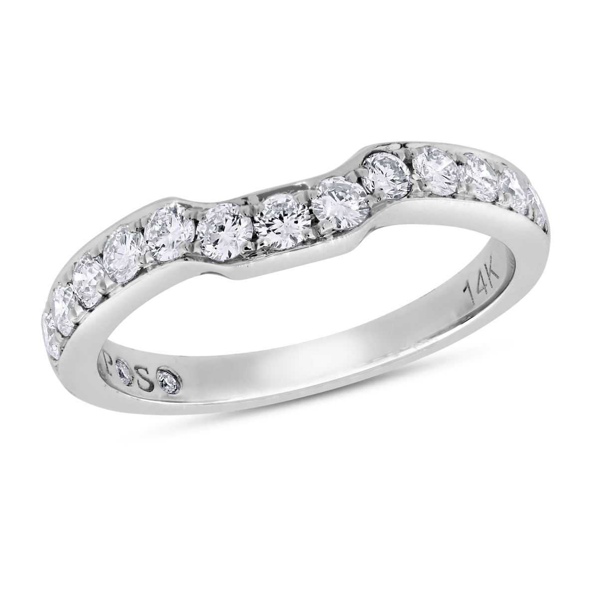 Passionstone, 1/2 Ctw Round Cut Diamond Wedding Band In 14K White Throughout Best And Newest Diamond Contour Wedding Bands In 14K White Gold (View 11 of 15)