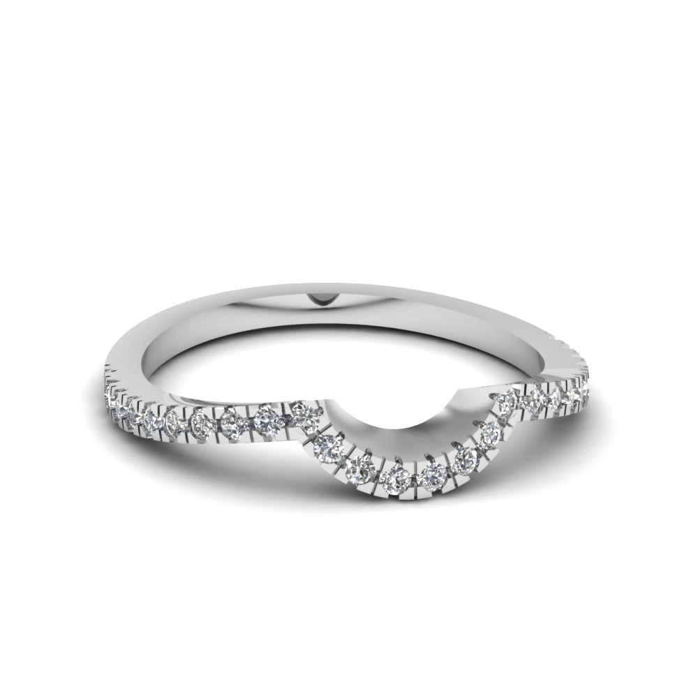 Featured Photo of Diamond Contour Wedding Bands In 14K White Gold