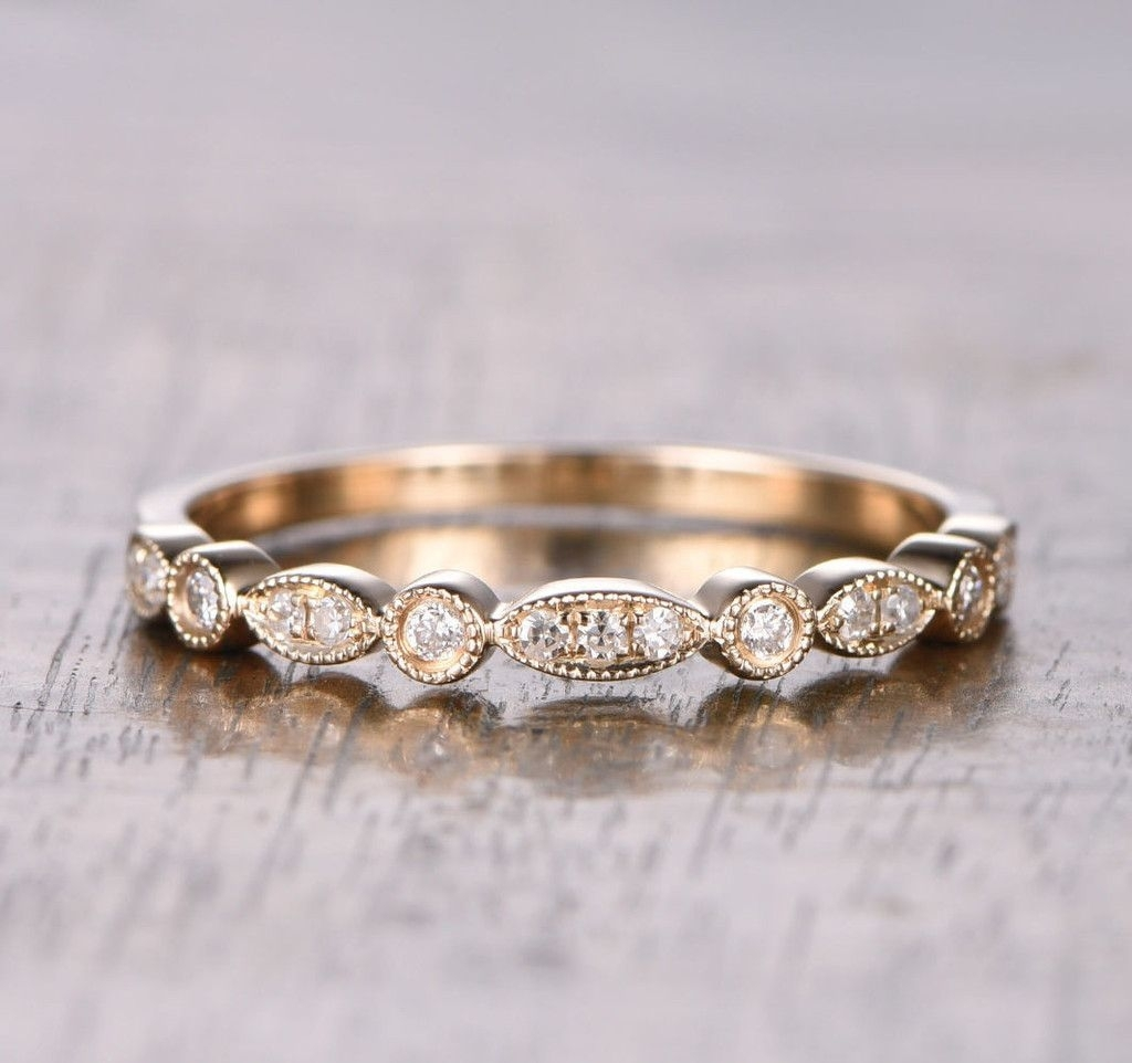 Pave Diamond Wedding Band Half Eternity Anniversary Ring 14K Rose With 2017 Diamond Art Deco Vintage Style Anniversary Bands In 10K Gold (Gallery 8 of 15)