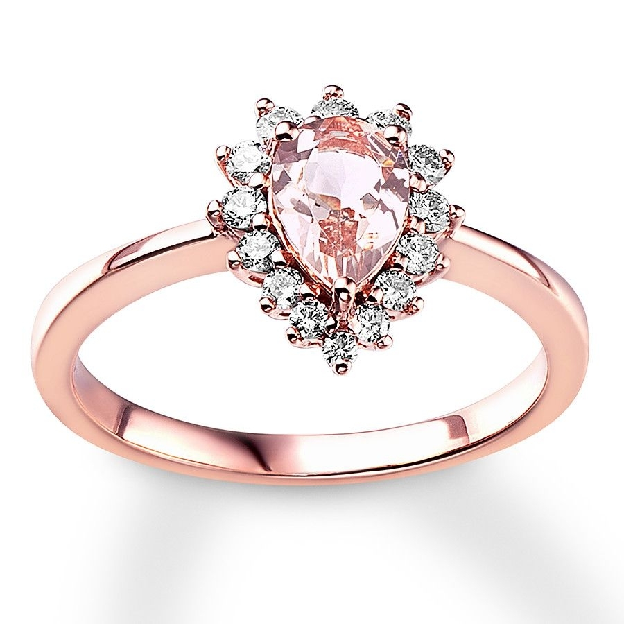 Pear Shaped Morganite Engagement Ring 1/4 Ct Tw Diamonds 10K Rose Within Most Recent Diamond Twist Anniversary Bands In 10K Rose Gold (View 8 of 15)